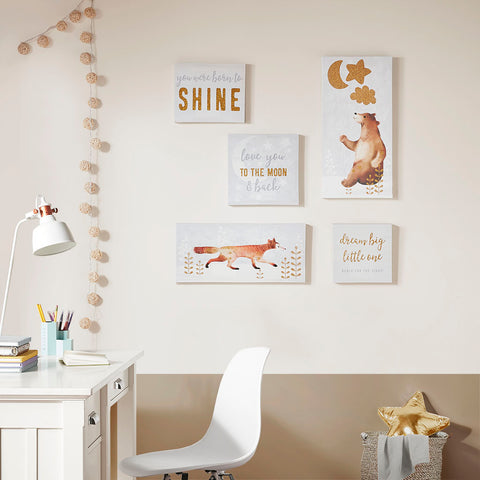 Mi Zone Born to Shine 5 PC Canvas Set With Gold Glitter