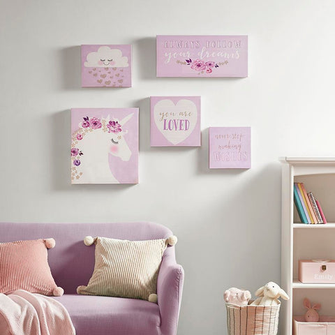 Mi Zone Lavender Dream Printed Canvas with Gold Glitter 5 Piece Set