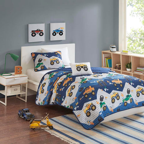 Mi Zone Nash Monster Truck Reversible Coverlet Set Full/Queen
