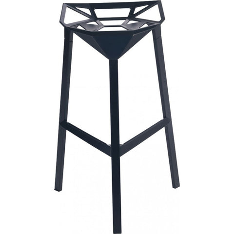 Mod Made Geometric Aluminum Barstool In Black