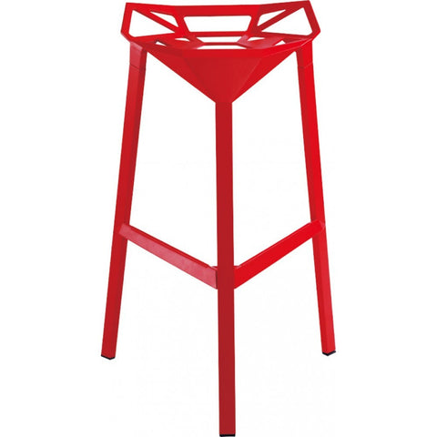 Mod Made Geometric Aluminum Barstool In Red