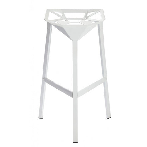 Mod Made Geometric Aluminum Barstool In White