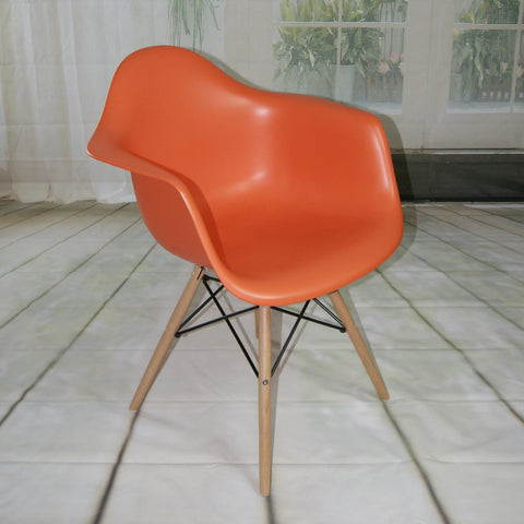 Mod Made Paris Tower Collection Arm Chair With Wood Leg In Orange
