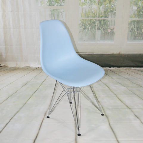 Mod Made Paris Tower Collection Side Chair With Chrome Leg In Blue