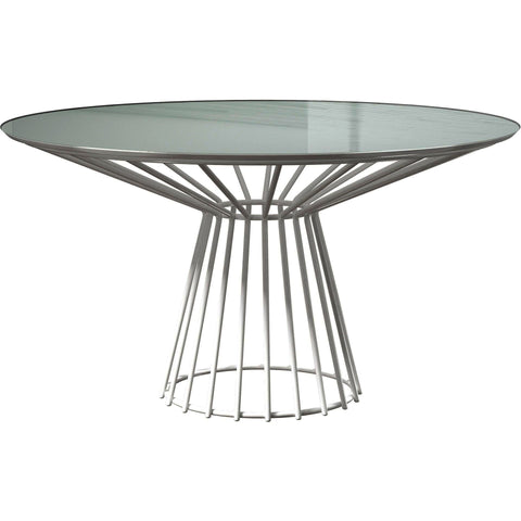 Modloft Carlisle Dining Table In White Glass on White