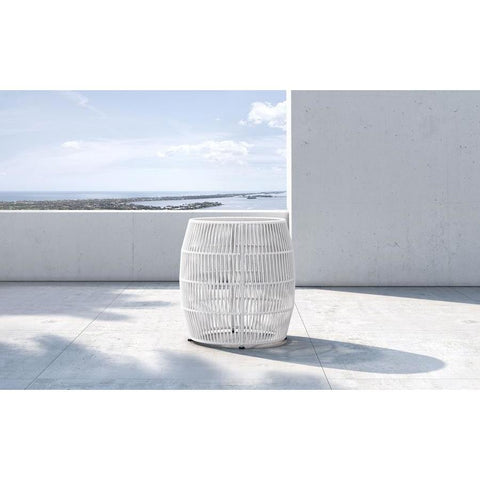 Modloft Volta Accent Table in White Cord