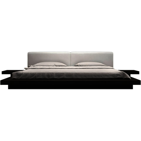 Modloft Worth Platform Bed w/ 2 Matching Nightstands in Wenge and Dusty Grey