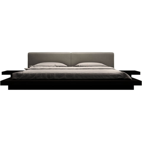 Modloft Worth Platform Bed w/ 2 Matching Nightstands in Wenge and White