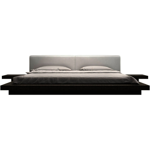 Modloft Worth Upholstered Platform Bed in White on Gray Oak