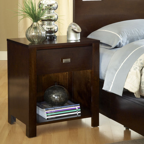 Modus Riva One Drawer Nightstand in Chocolate Brown