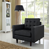 Modway Empress Leather Armchair in Black
