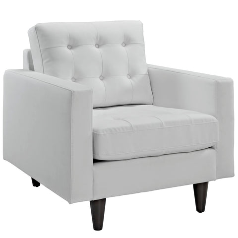 Modway Empress Leather Armchair in White