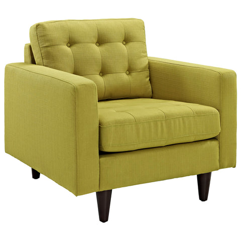 Modway Empress Upholstered Armchair in Wheatgrass