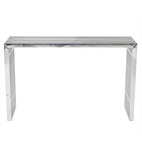 Modway Gridiron Console Table in Silver