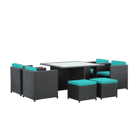 Modway Inverse 9 Piece Outdoor Patio Dining Set In Espresso And Turquoise