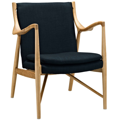 Modway Makeshift Upholstered Lounge Chair In Birch And Black