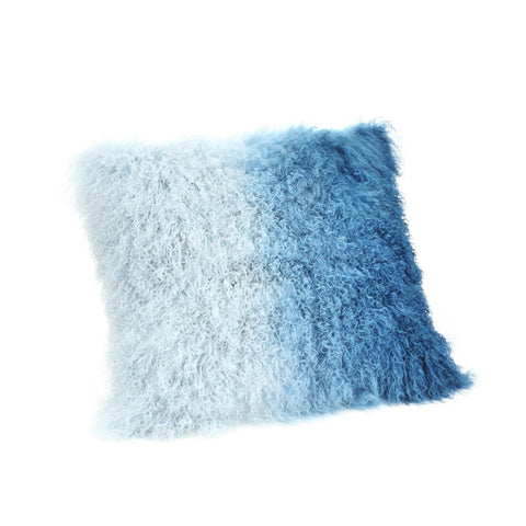 Moe's Home Lamb Fur Pillow In Blue Spectrum