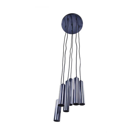 Moe's Tubular Led Pendant Lamp Carbon Blue Set Of Six