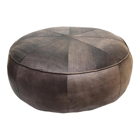 Moes Home Arthuro Leather Ottoman in Antique Brown