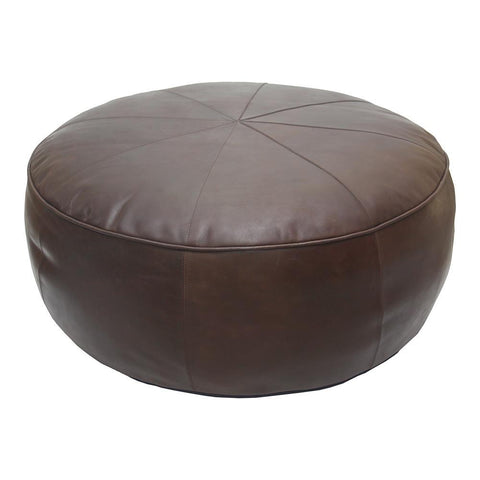 Moes Home Arthuro Leather Ottoman in Coffee