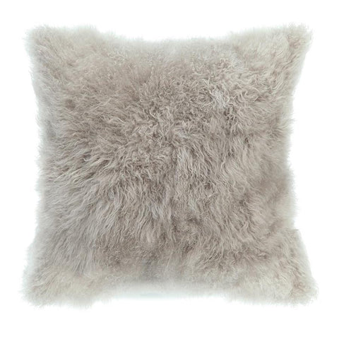 Moes Home Cashmere Fur Pillow in Light Grey