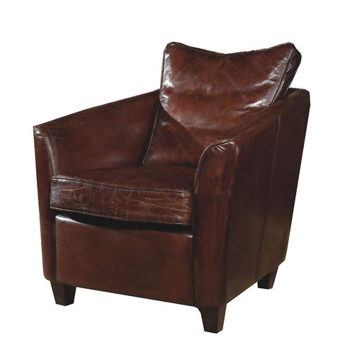 Moes Home Charlston Club Chair in Brown Leather