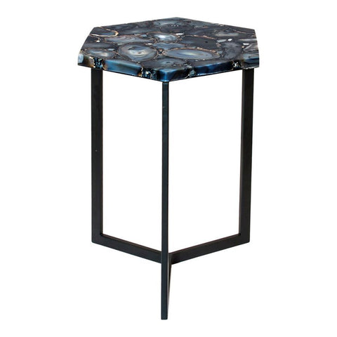 Moes Home Hexagon Agate Accent Table in Silver
