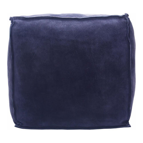 Moes Home Jules Suede Pouf in Blue