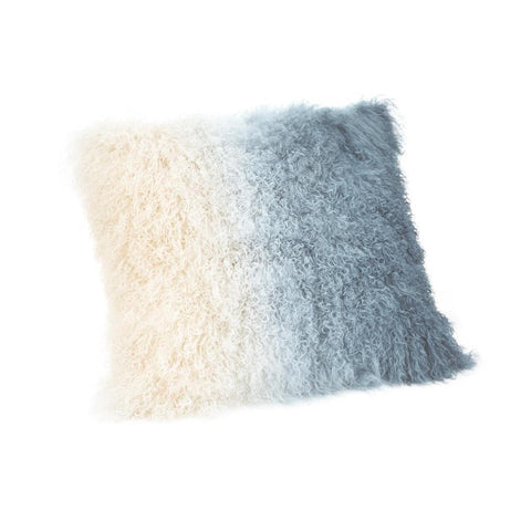 Moes Home Lamb Fur Pillow Light Deep Blue Spectrum