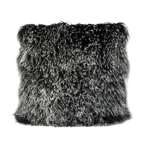 Moes Home Lamb Fur Pillow in Large Black Snow