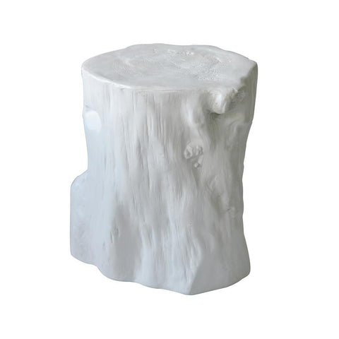 Moes Home Log Stool Antique White in Light Grey