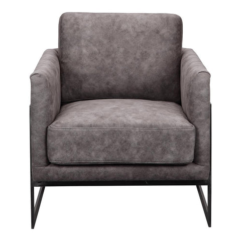 Moes Home Luxe Club Chair in Grey Velvet
