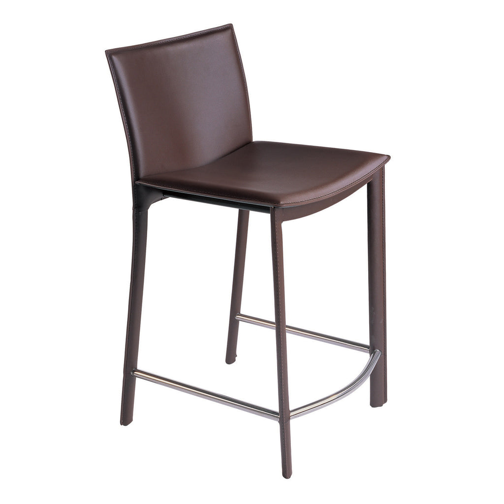 Moes Home Panca 26 Inch Counter Stool In Dark Brown Leather Beyond