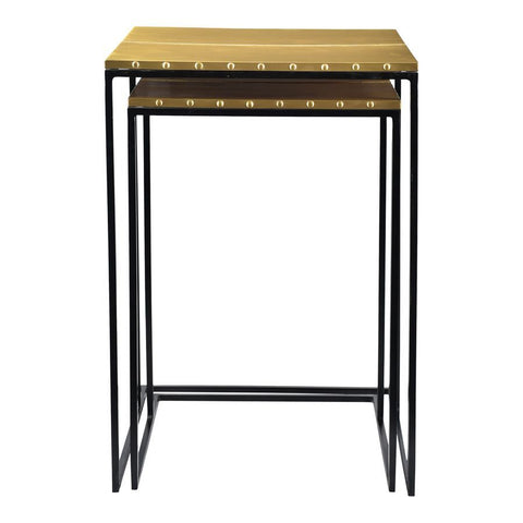 Moes Home Rivet Nesting Tables Set Of Two in Brass