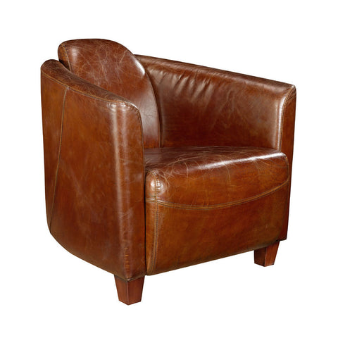 Moes Home Salzburg Club Chair in Brown Leather