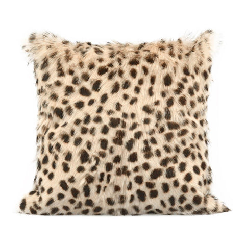 Moes Home Spotted Goat Fur Pillow in Cream White