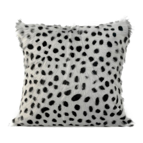 Moes Home Spotted Goat Fur Pillow in Light Grey