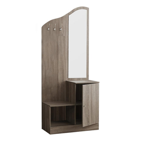"Monarch I 2775 Hall Tree - 75""H / Dark Taupe Storage Unit / Mirror"