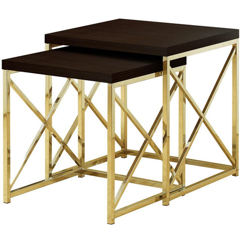Monarch I 3237 Nesting Table - 2Pcs Set / Cappuccino / Gold Metal