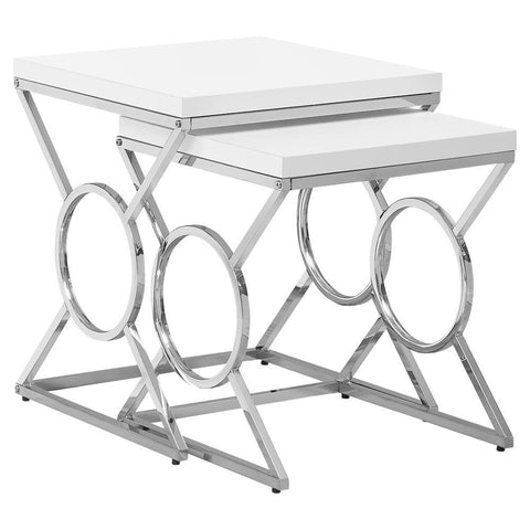 Monarch I 3401 Nesting Table - 2Pcs Set / Glossy White / Chrome Metal