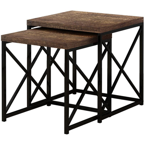 Monarch I 3413 Nesting Table - 2Pcs Set / Brown Reclaimed Wood / Black