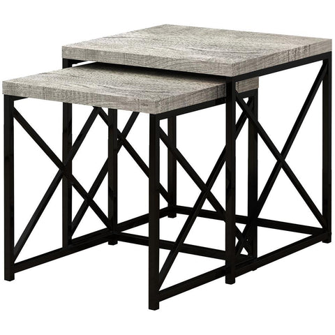 Monarch I 3414 Nesting Table - 2Pcs Set / Grey Reclaimed Wood / Black