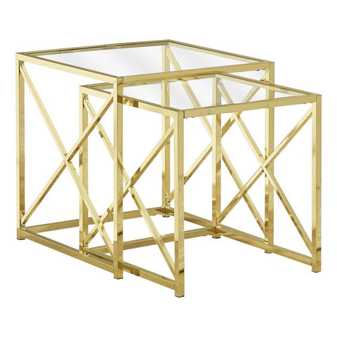 Monarch I 3445 Nesting Table - 2Pcs Set / Gold Metal With Tempered Glass