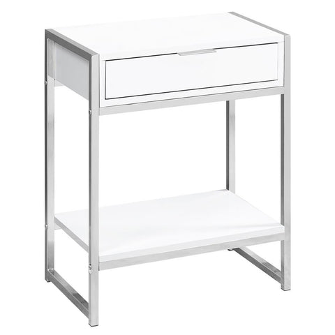"Monarch I 3480 Accent Table - 24""H / Glossy White / Chrome Metal"