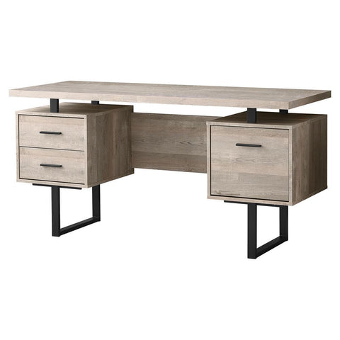 "Monarch I 7418 Computer Desk - 60""L / Taupe Reclaimed Wood / Black Metal"