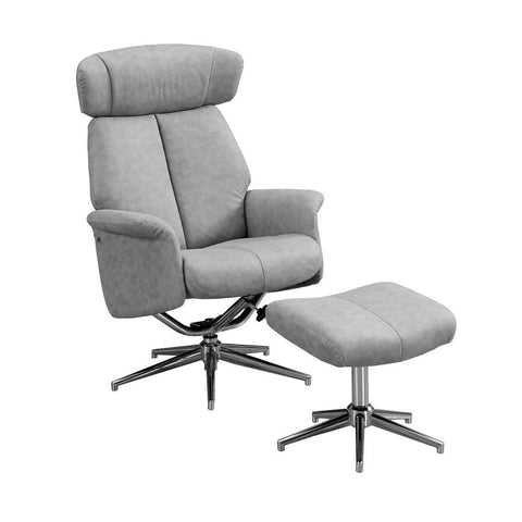 Monarch I 8139 Reclining Chair - 2Pcs Set / Grey Swivel -Adjust Headrest