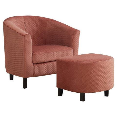 Monarch I 8240 Accent Chair - 2Pcs Set / Dusty Rose Quilted Fabric
