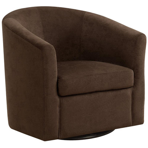 Monarch I 8270 Accent Chair - Swivel / Dark Brown Abstract Velvet