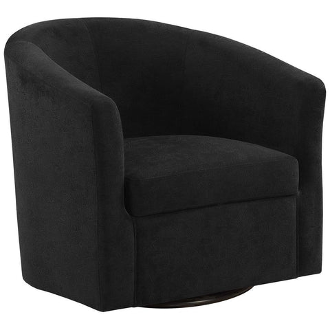 Monarch I 8271 Accent Chair - Swivel / Black Abstract Velvet