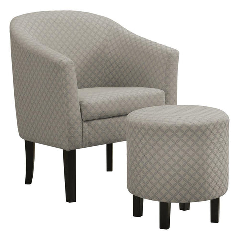 Monarch I 8322 Accent Chair - 2Pcs Set / Light Grey Geometric Fabric